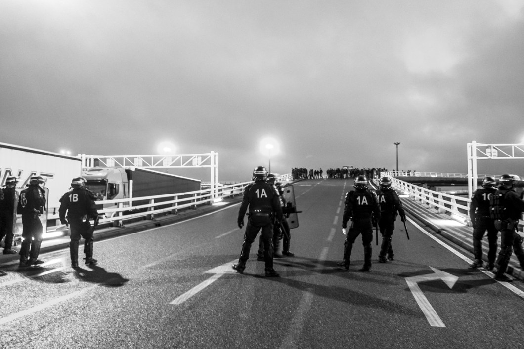 January, 23, 2016 : Refugees pushed away from the ferry by french police forces. at the end of the day 24 migrants and 10 Noborders were arrested. Calais, (62), France.