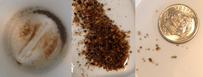 Figure 3: Looking into the bottom of a 1L water sample from Ms. Walters' house (left); close-up of large rust particles (middle and right) -- Photograph courtesy Kelsey Pieper and Min Tang