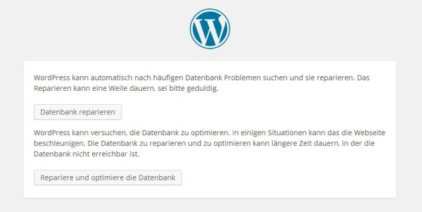 WordPress Datenbank-Reparatur