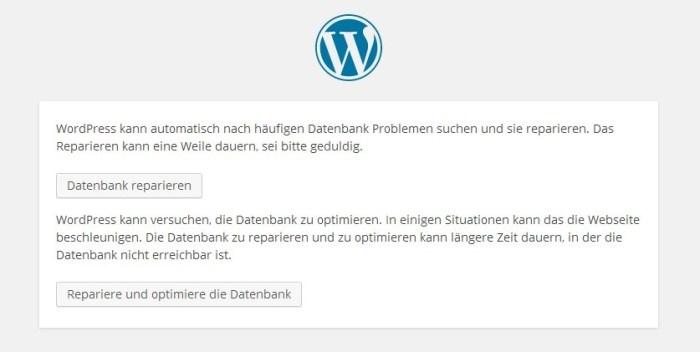 WordPress Datenbank-Reparatur
