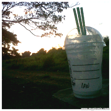vanilla frapp and sunset