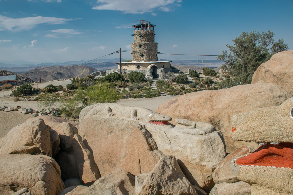 Looking at Desert View Tower from Boulder Park