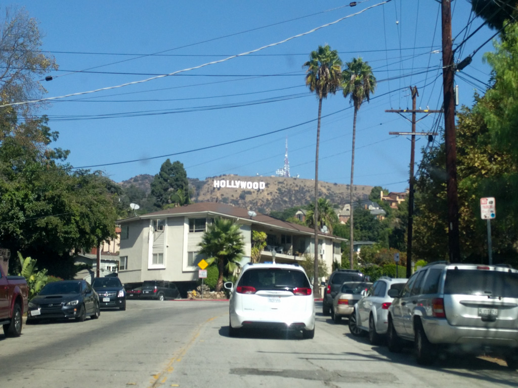 Hollywood sign from the car