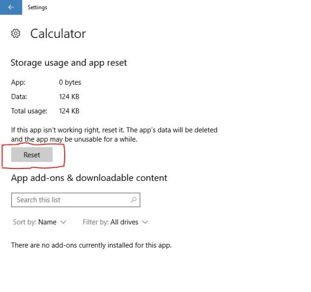 Calculator not working in Windows 10