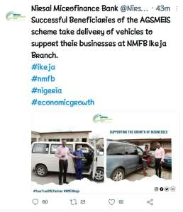 NMFB: Successful Beneficiaries of AGSMEIS Scheme Have Started Receiving Vehicles