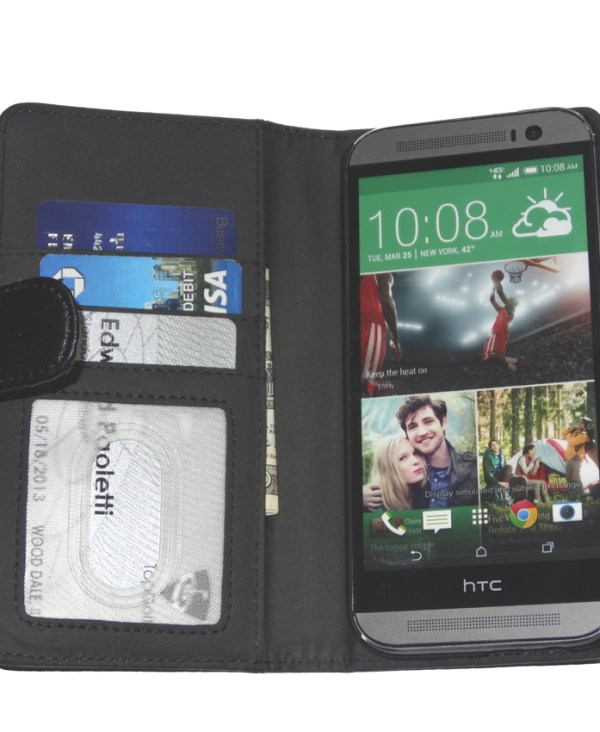 Fliptroniks Black Leather Wallet Flip Case Cover for HTC One M8