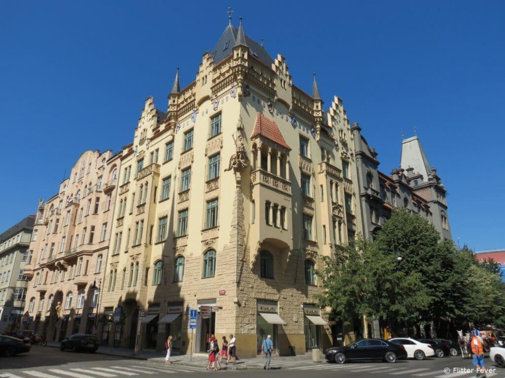 Beautiful architecture in Josefov, the Jewish neighboorhood of Prague Joodse wijk Praag