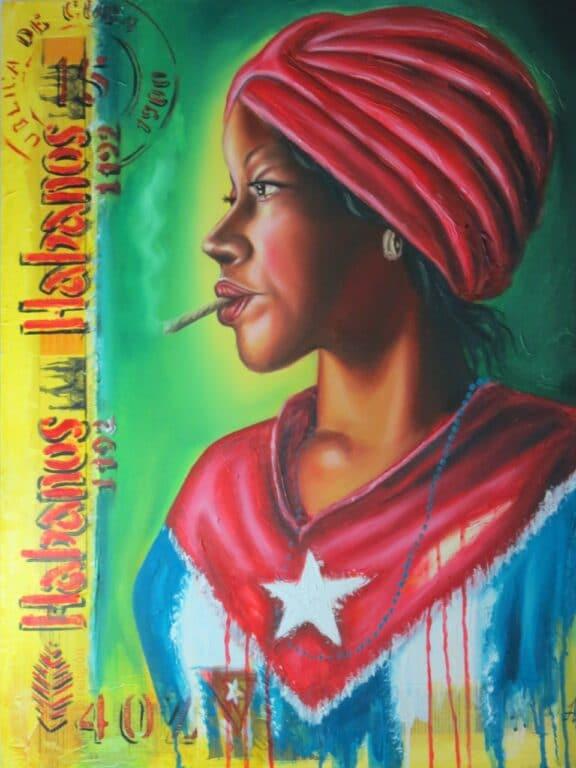 Trinidad art: Cuban woman smoking cigar