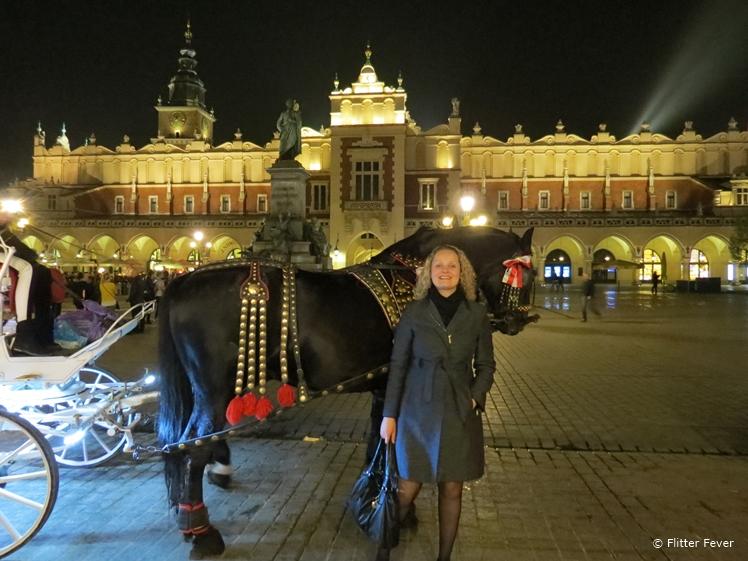 Rynek Główny at night with the Cloth Hall on the background