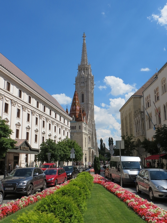 Hess András tér with Hilton hotel and Matthias Church on the background, Budapest