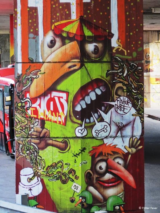 Funny street art at bus station Bratislava