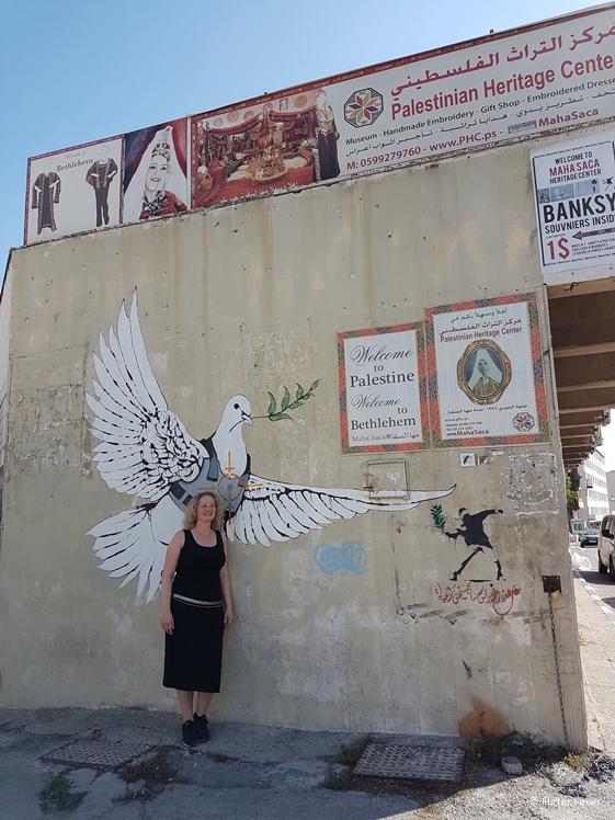 Armoured Dove by Banksy street art Bethlehem