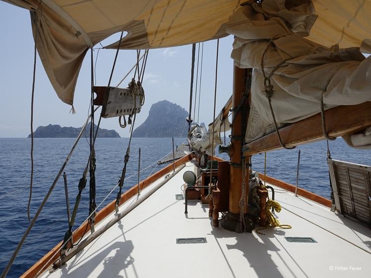 On a sailing ship towards Es Vedra, Ibiza