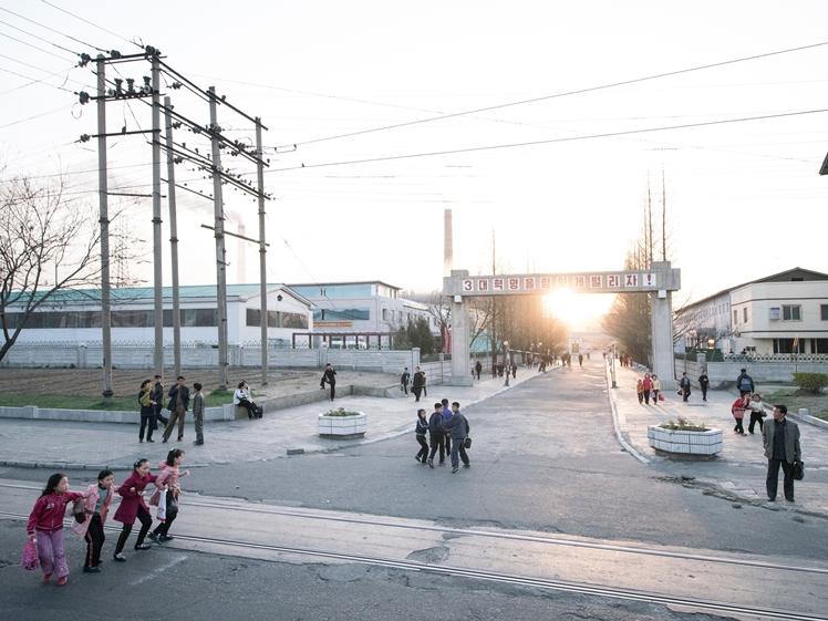 People on the street in Pyongyang North Korea