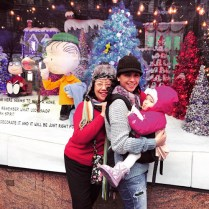 My mom & sister in-law in front of Macy's Peanuts window display