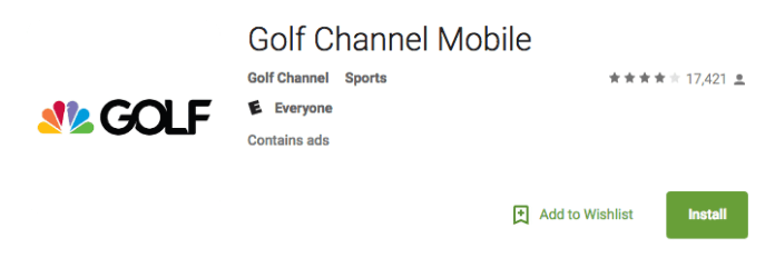 Android app for Golf Channel