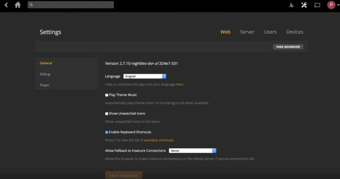 plex menu live tv