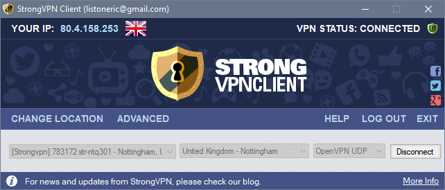 Connected uk strongVPN