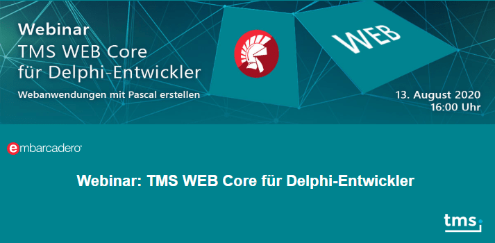 Free Delphi webinars featuring web development with TMS WEB Core 1.5