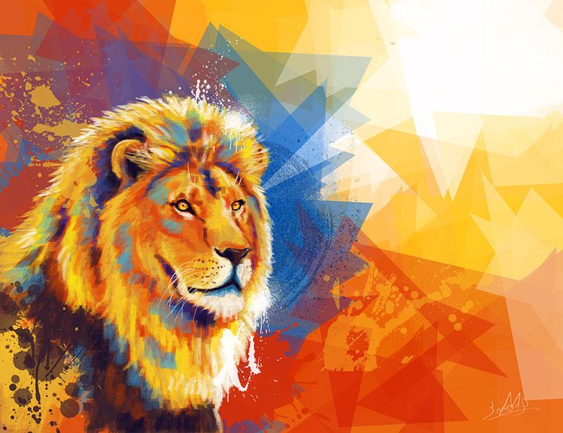Lion digital illustration portfolio