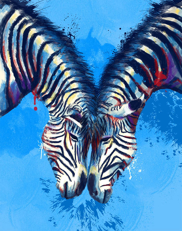 zebras digital painting portfolio