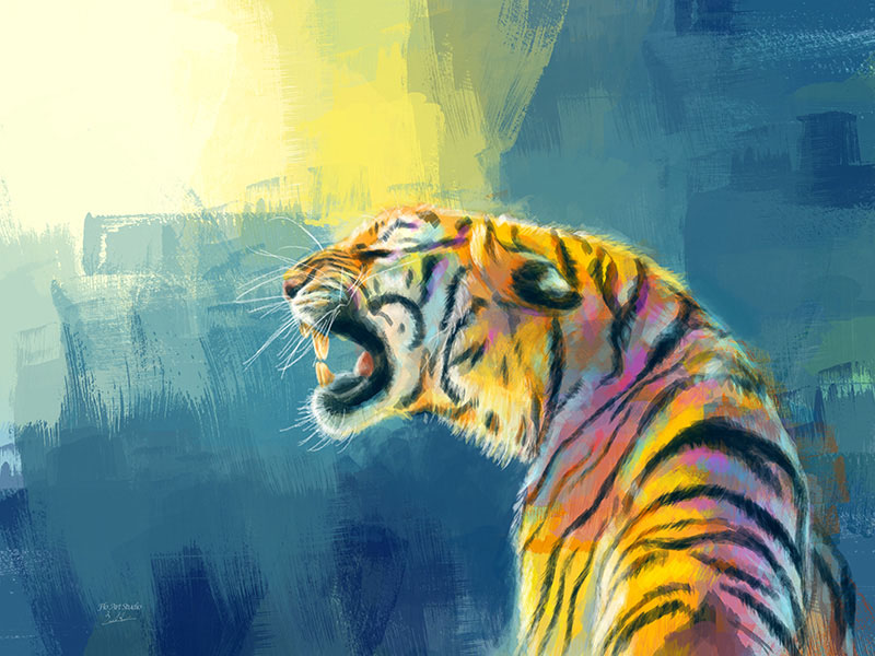 Shine Fearlessly Tiger Painting