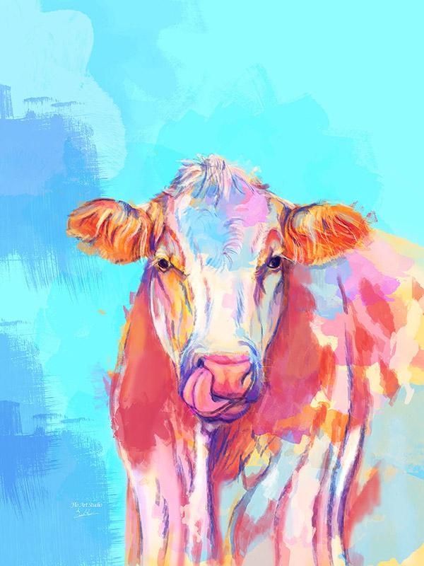 Whimsical Cow Digital Illustration