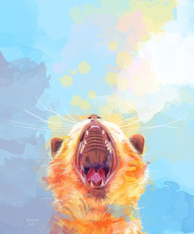 yawning cat digital painting