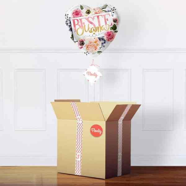 Beste Mama Flower Power Ballon im Karton
