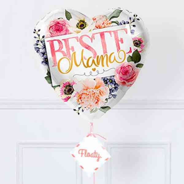 Beste Mama Flower Power Ballon Zoom