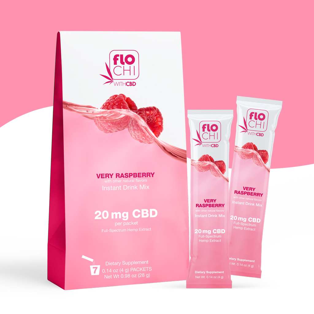 FloChi CBD Powder Sticks Raspberry Packets