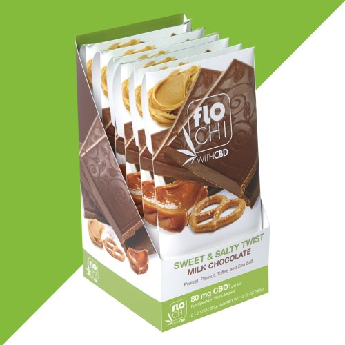 FloChi CBD Chocolate Bar Milk Chocolate Sweet and Salty Twist