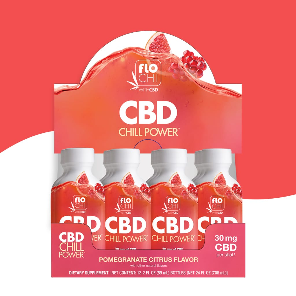 FloChi CBD Energy Shots Pomegranate Citrus Flavor 12-Pack