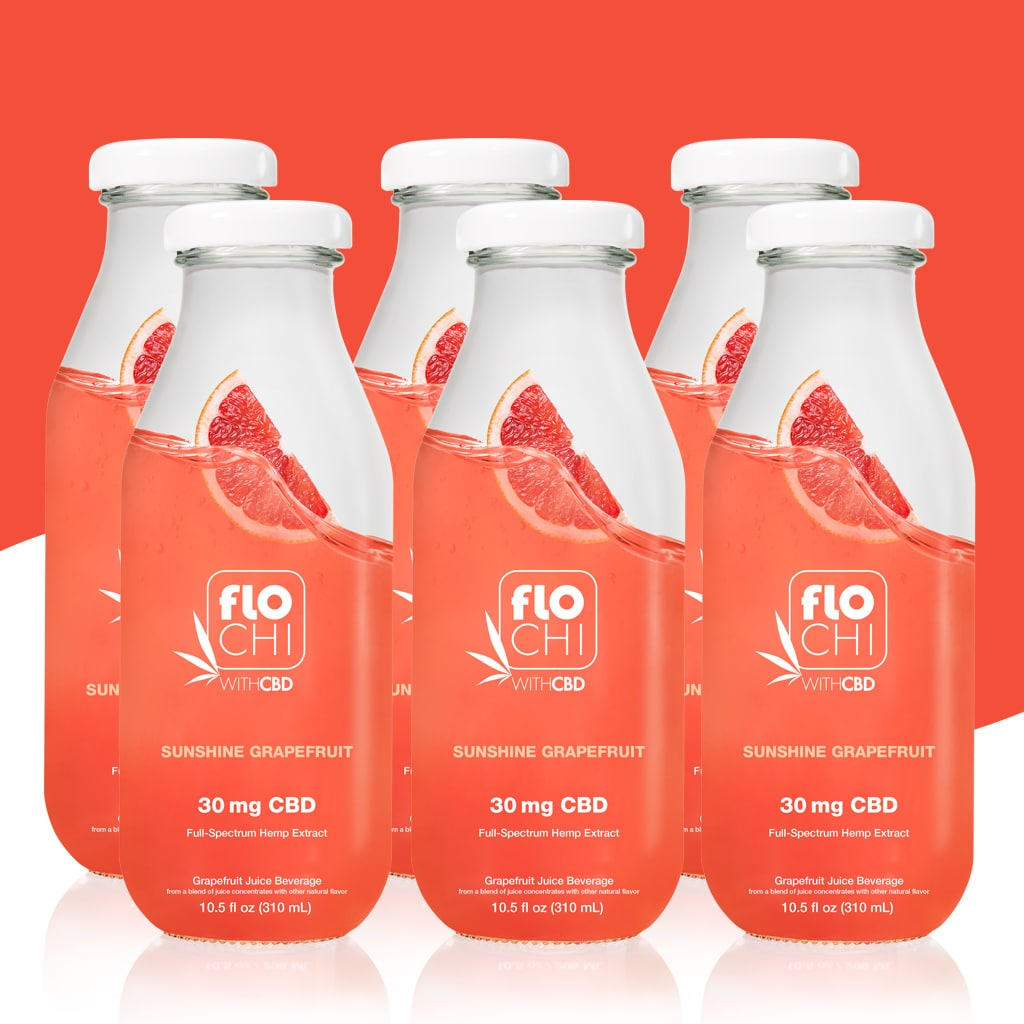 FloChi CBD Juice CBD Ruby Red Grapefruit Flavored Juice 6-Pack