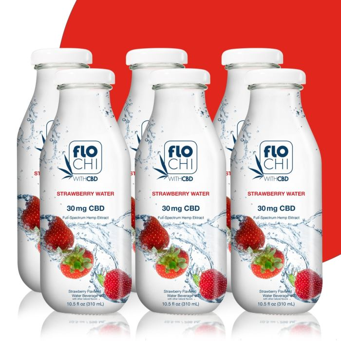 FloChi CBD Water CBD Flavored Water Strawberry 6-Pack