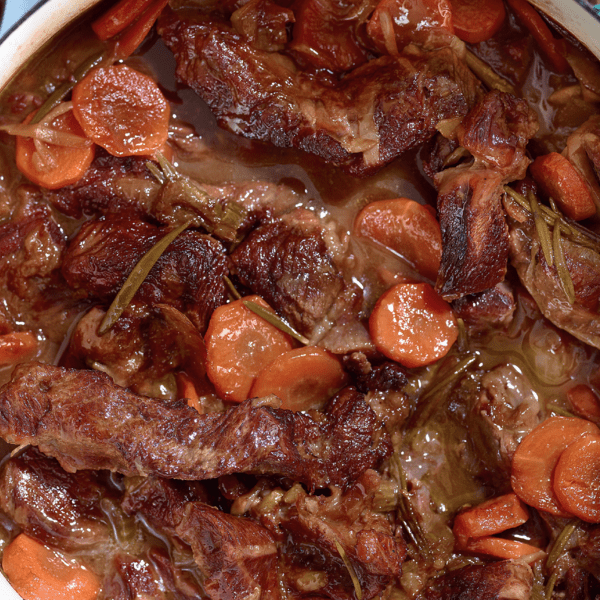 Braised Shin of Beef with Creamy Mash - The Happy Foodie