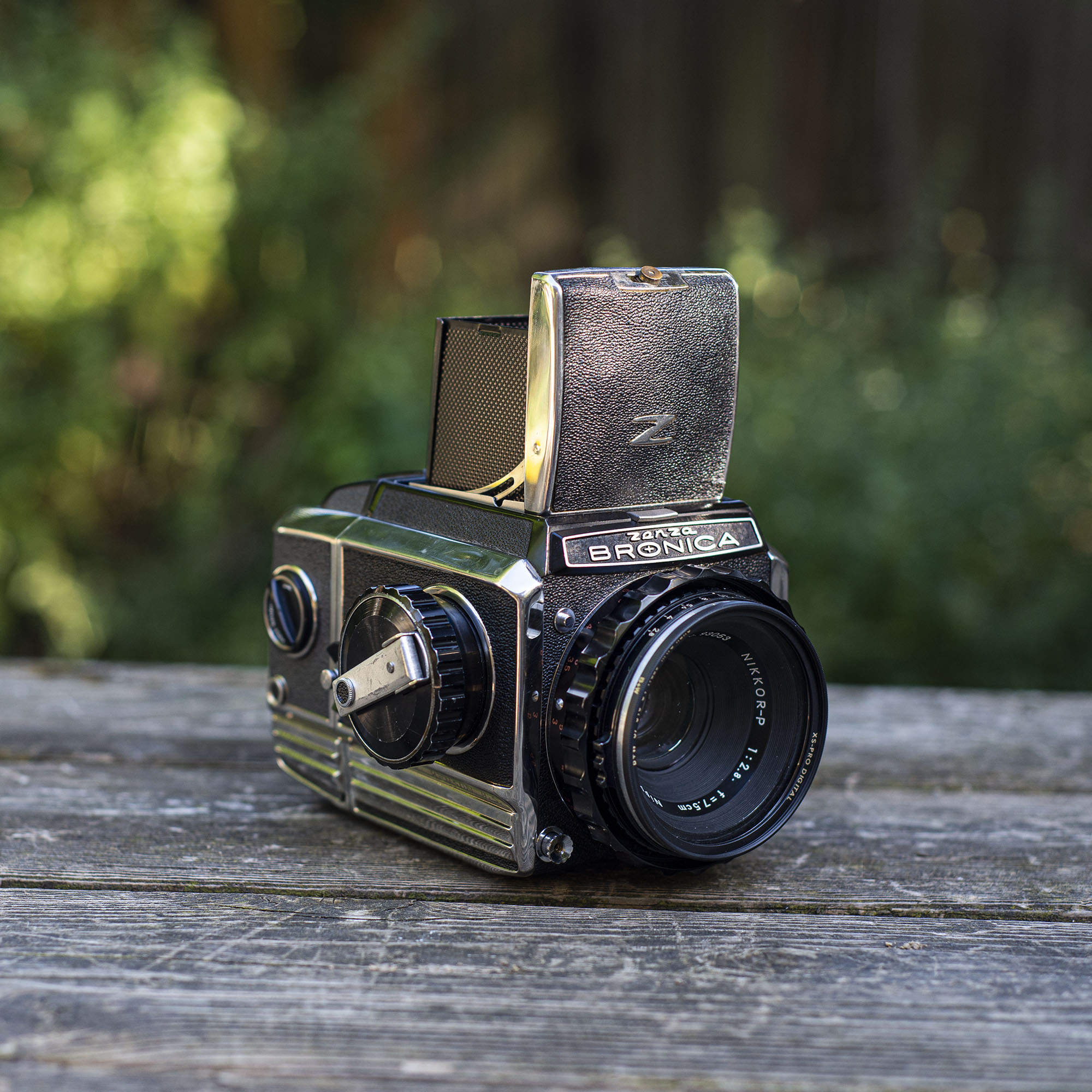 Bronica S2 with the waist level finder open