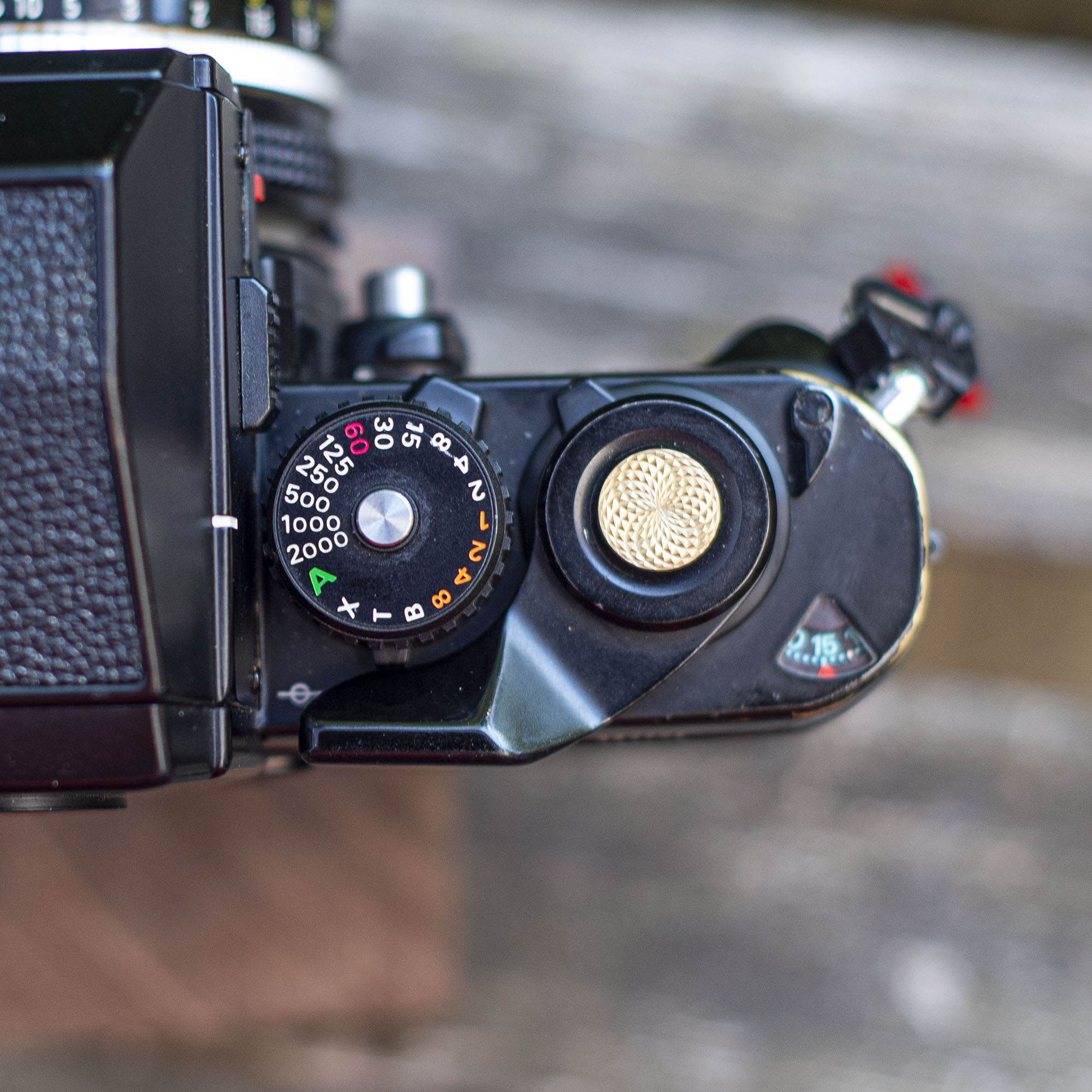 Nikon F3 shutter speed dial and shutter button