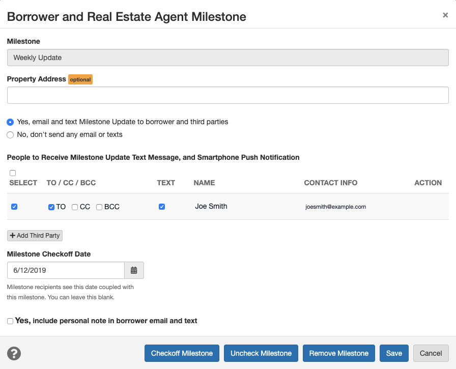 loan milestone new add third party button