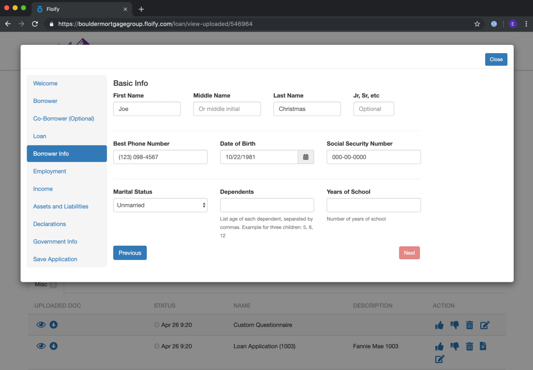 floify 1003 loan application editor