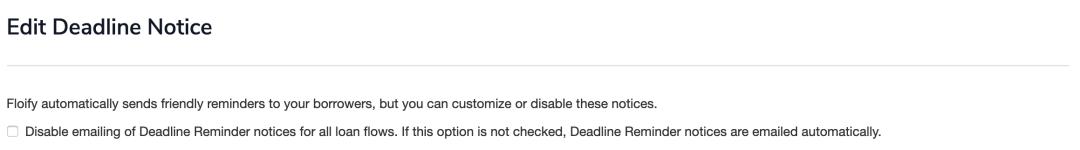 deadline notice settings