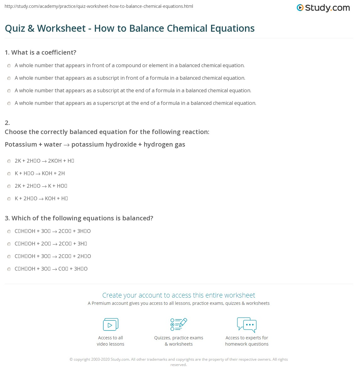 Chemistry A Study Of Matter 6 23 Worksheet Balancing