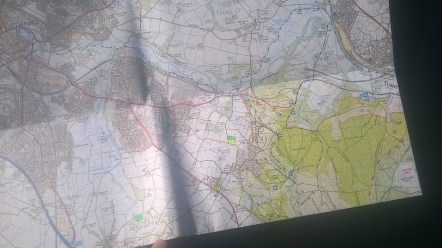 My 'improved' OS map with 'dry' and 'wet' fields marked on.