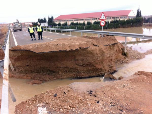 Bridge collapse after Ebro floods, Spain. Photo: UME