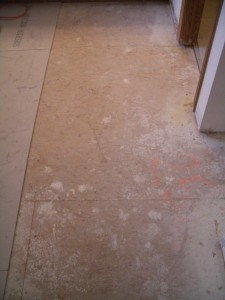 Dry fitting Backerboard on floor