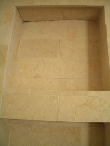 Incorrectly tiled shower niche