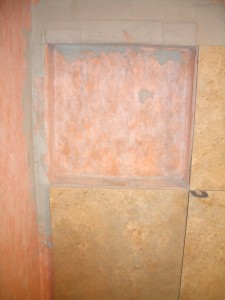 Finished waterproof shower niche