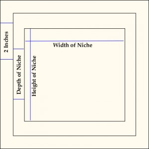 Measurement diagram for Kerdi niche