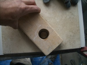 Hole half drilled