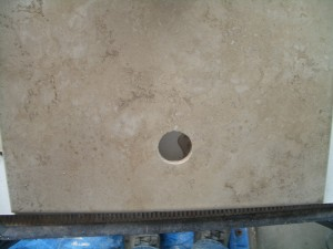 Drilled hole in tile